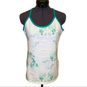 lululemon Power Y Floral White Scoop Tank Top